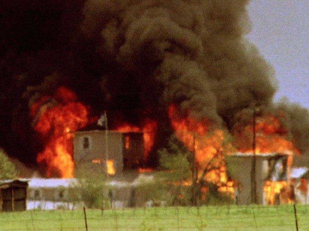 FILE PHOTO OF BURNING DAVIDIAN COMPOUND NEAR WACO.